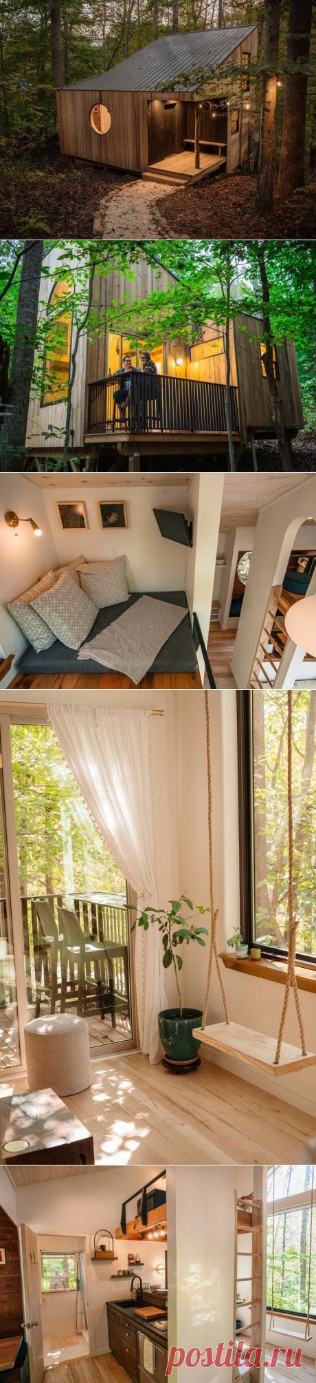 Маленький уютный домик посреди леса: использование 100% объема, огромные окна, качели и лестницы внутри дома   АРТбук Ульяновой   Яндекс Дзен