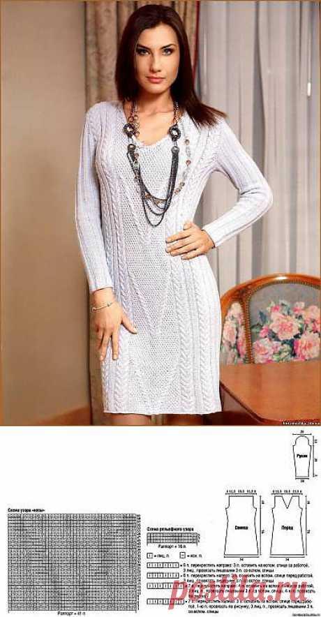 Серое платье спицами. Модель вязаного платья спицами - 26 Августа 2011 - Вязание спицами, модели и схемы для вязания на спицах