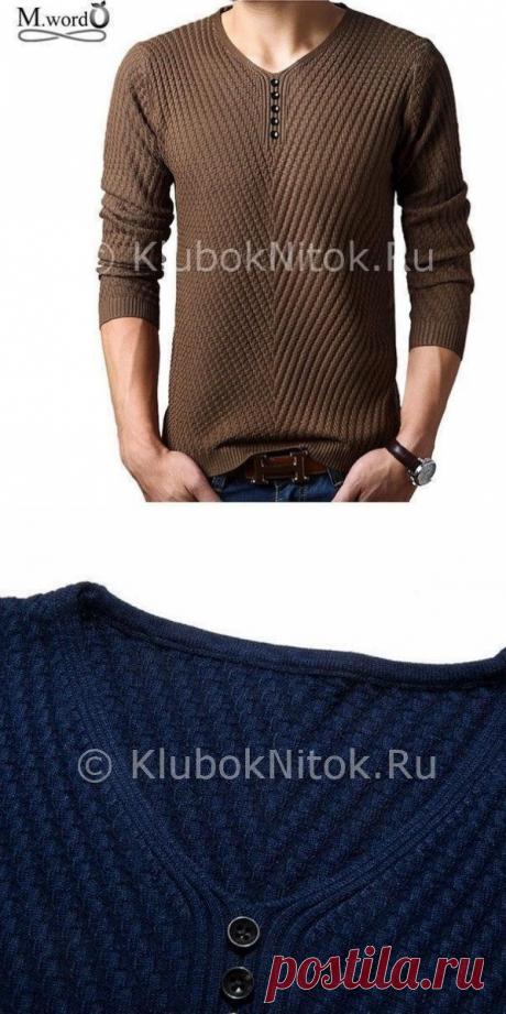 Вяжем мужской пуловер простым узором спицами