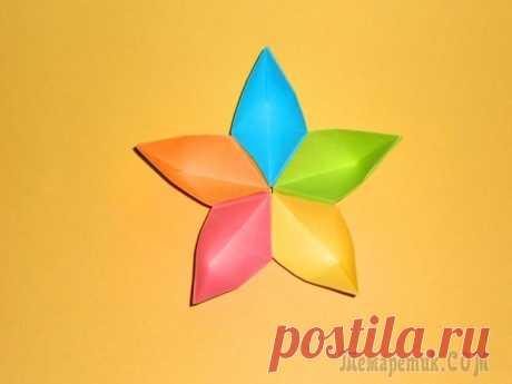 Цветок из бумаги Поделки оригами для детей Красивые цветы из бумаги можно легко и быстро сделать своими руками в технике оригами. Собирается цветок из 5 модулей. Модуль изготавливается из листа бумаги 8*8 см. далее модули собираются в цветок. ...