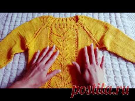 Детский свитерок регланом сверху с ростком (4-я часть, заключительная)