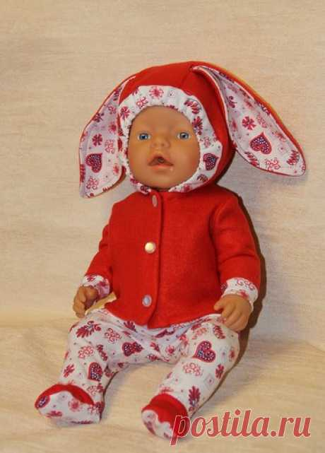 Зайка моя... Выкройка костюмчика для куклы Baby Born / Выкройки одежды для кукол-детей, мастер классы / Бэйбики. Куклы фото. Одежда для кукол