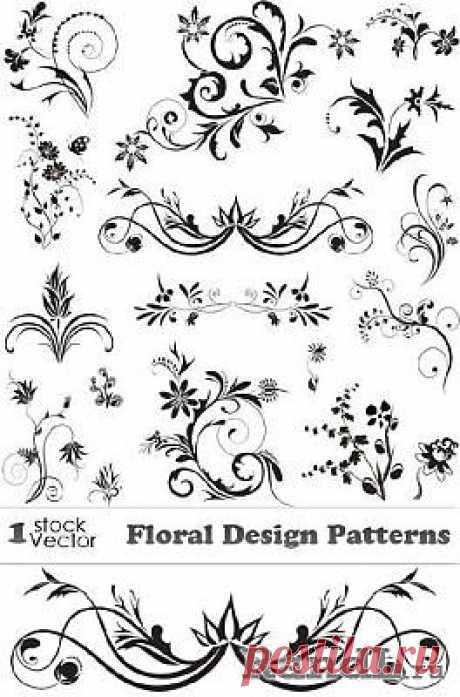 Floral Design Patterns Vector   Растительные элементы дизайна » RandL.ru - Все о графике, photoshop и дизайне. Скачать бесплатно photoshop, фото, картинки, обои, рисунки, иконки, клипарты, шаблоны.