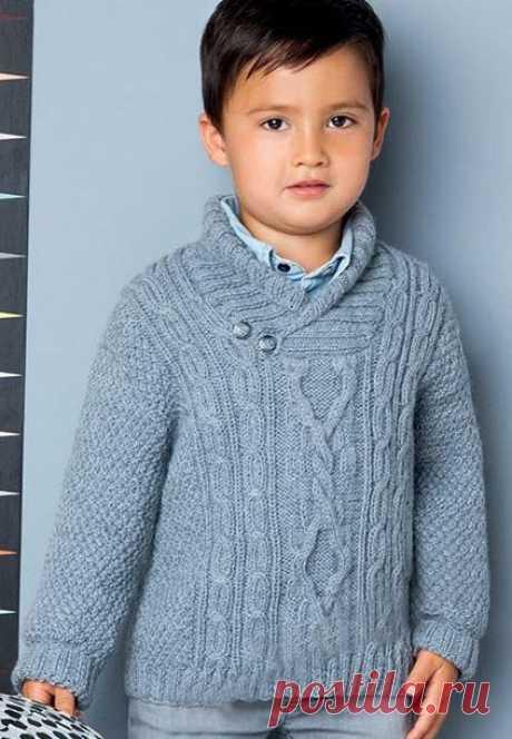 Пуловер для мальчика спицами: 16 моделей со схемами и описанием