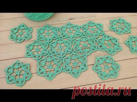 Цветочный МОТИВ крючком СОЕДИНЕНИЕ мотивов в вязании МАСТЕР-КЛАСС Crochet lace motif patterns