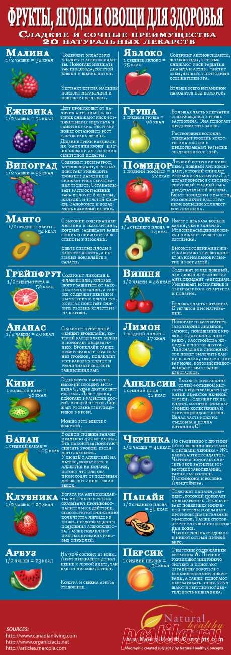 ИНФОГРАФИКА: Почему ягоды и фрукты полезны для вашего здоровья - Лайфхакер