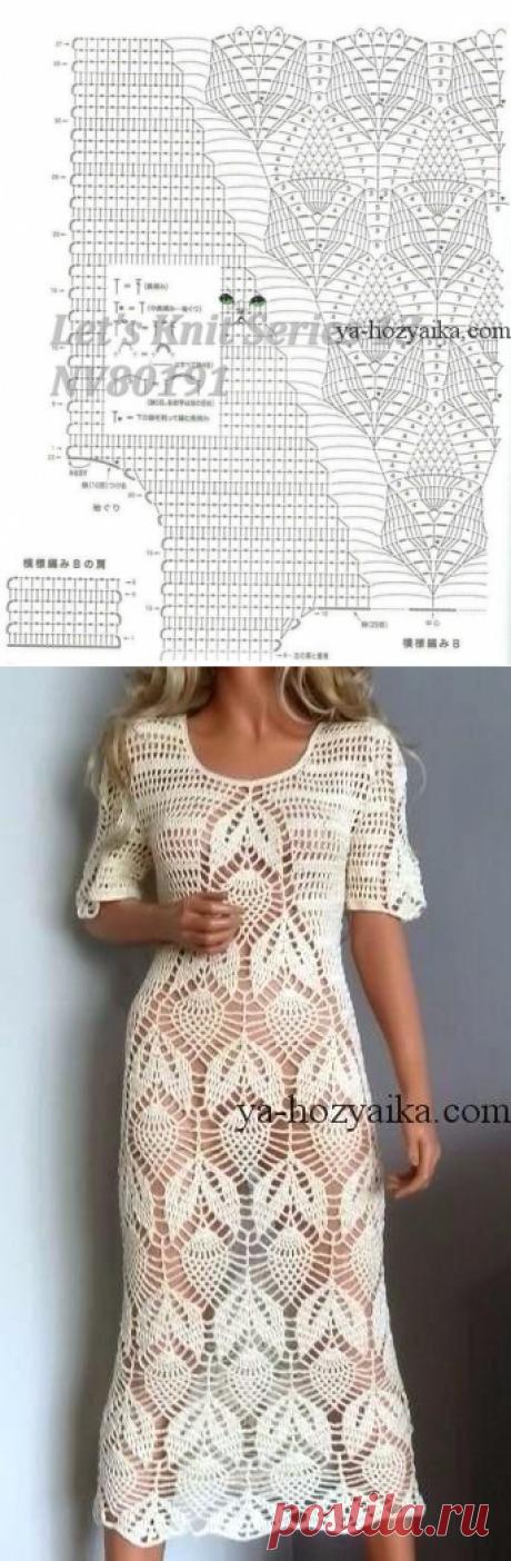 Белое ажурное платье крючком. Схема вязания кружевного платья крючком