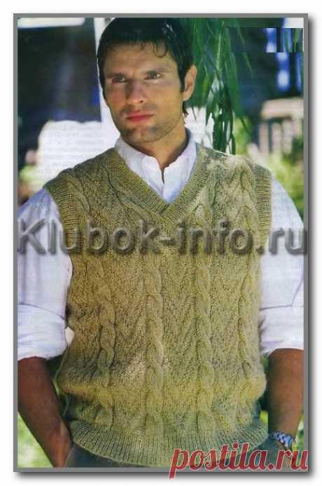 Вязание спицами для мужчин. Безрукавка с V-вырезом и с узорами - фантазийный и косы