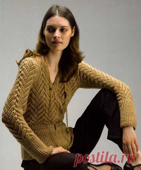 Knitting spoke Pullover. There are a scheme and the description.