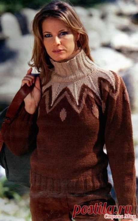 Трехцветный свитер с жаккардовой кокеткой - Жаккард - Страна Мам