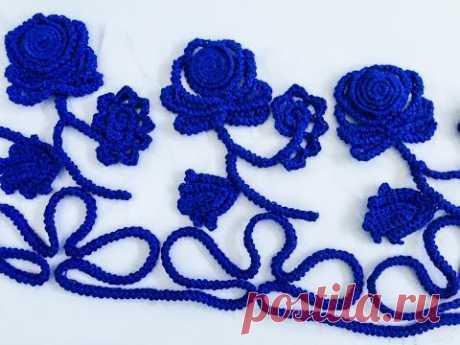 Crochet Pattern - Rose lace sleeve - YouTube Узор крючком - роза кружева рукав