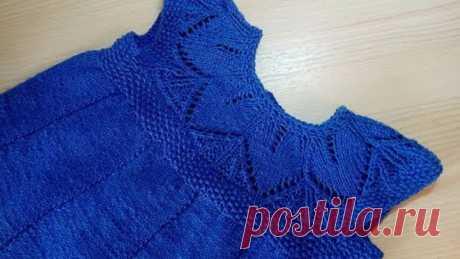 Платье с ажурной кокеткой спицами МК для начинающих 2 часть