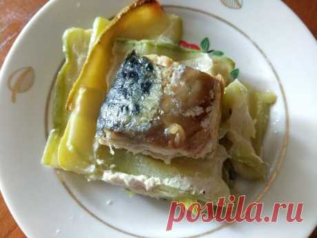 Скумбрия, запеченная с кабачками рецепт с фото пошагово