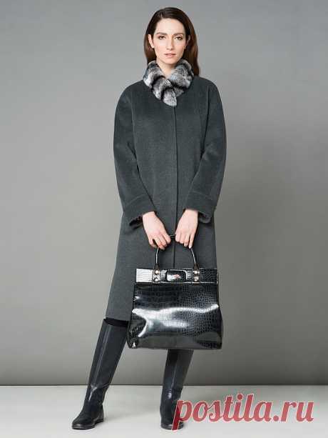 Пальто женское демисезонное цвет темно-серый, Пальтовая ткань, артикул 1015000p60192