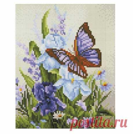 Купить Алмазная мозаика на подрамнике 20*25 см Белоснежка 544-ST-S Бабочка на ирисах по низкой цене с доставкой из Яндекс.Маркета (бывший Беру)