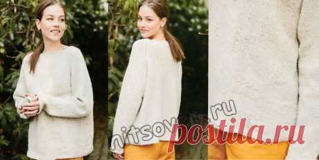 Свободный пуловер реглан с цветочными мотивами - Хитсовет Вязание спицами для женщин стильного свободного пуловера реглан с цветочными мотивами со схемой и пошаговым бесплатным описанием.