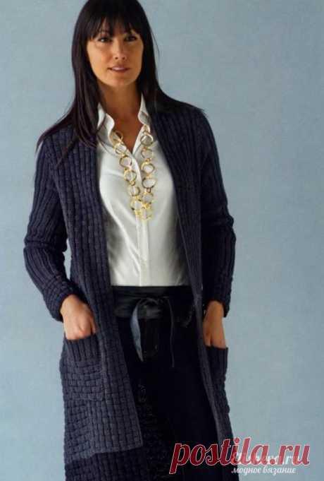 Кардиган для бизнес-леди вязаный спицами