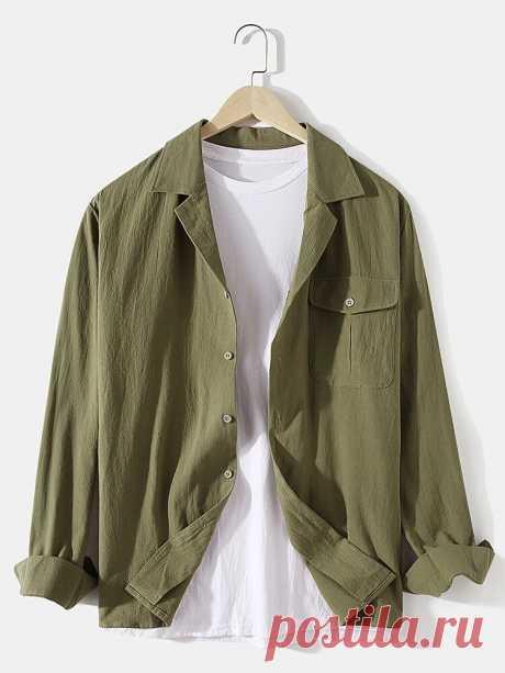 Banggood Design Mens 100% Cotton Solid Color Camp Collar Chest Pocket Long Sleev - US$22.99