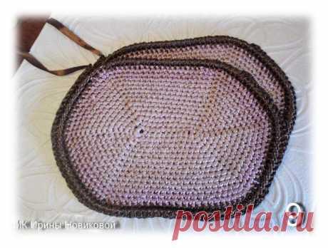 Вяжем сумку из атласной ленты