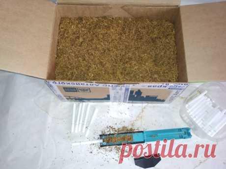 Набивка сигарет смесью домашних табаков .