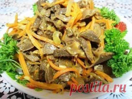 Острый салат из куриных желудочков - устрой себе праздник