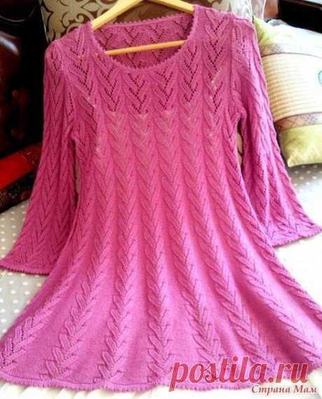 Платье-туника спицами схема. Туника свободного силуэта спицами |