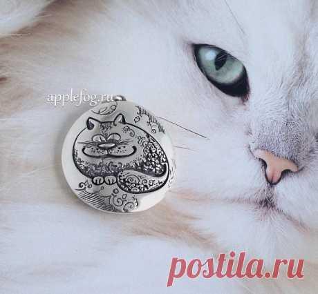Подвеска Помурчи со мной серебро 925 - душевный кот для настоящих котоманов!