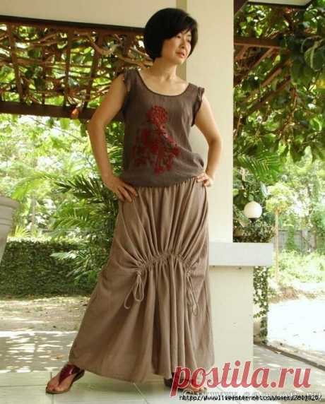 Skirt pattern in style bokho