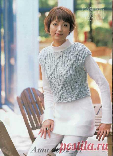 свитер-гольф из секционной пряжи