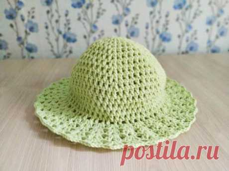 Легкая летняя шляпка для дачи крючком описание вязания