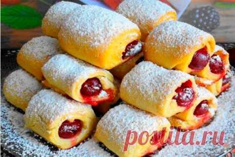 Печенье «Вишни под снегом» — невесомое и хрустящее