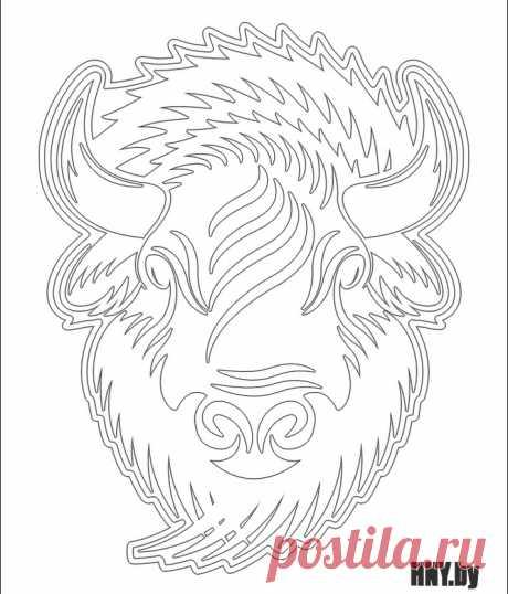 Трафарет бык для вырезания из бумаги, шаблон вытынанки бычок на окно