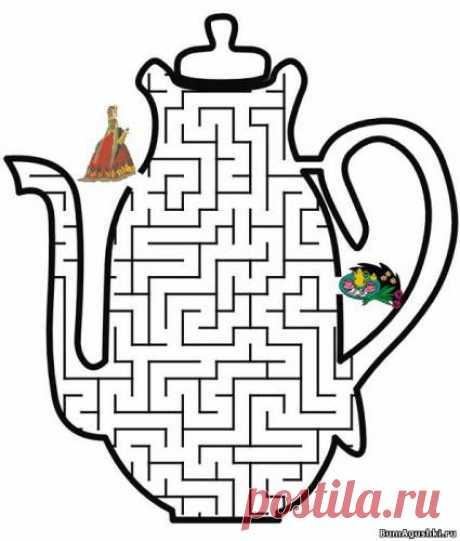 Чайник - Лабиринты - Дошкольное развитие ребенка - БумАгушки - детские раскраски и многое другое