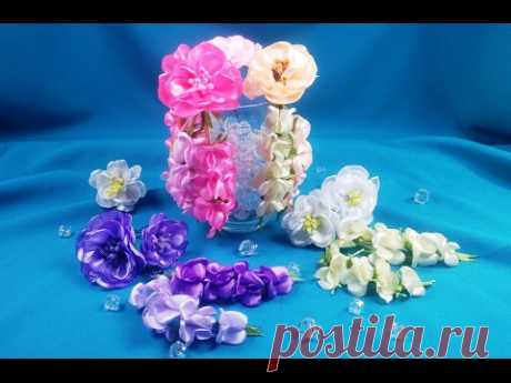 Ribbon flowers for the hairstyle\/Flores de las cintas para el Peinado\/flowers from tapes in a hairdress