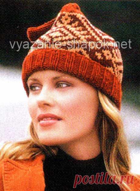 Шапки с жаккардовым узором на спицах   ВЯЗАНИЕ ШАПОК: женские шапки спицами и крючком, мужские и детские шапки, вязаные сумки