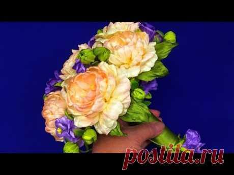 Bouquet of ribbon flowers.DIY Recycling/Ramo de flores de la cinta/Букет-дублер своими руками