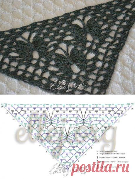 Узор для шали Лунные бабочки | Crochet by Ellej | Вязание крючком от Елены Кожухарь