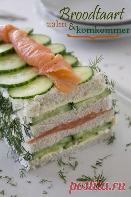 Хлебный торт с лососем и огурцом - Бренда Кокт