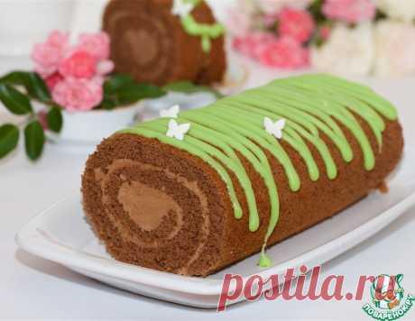 Бисквитный шоколадный рулет с глазурью – кулинарный рецепт