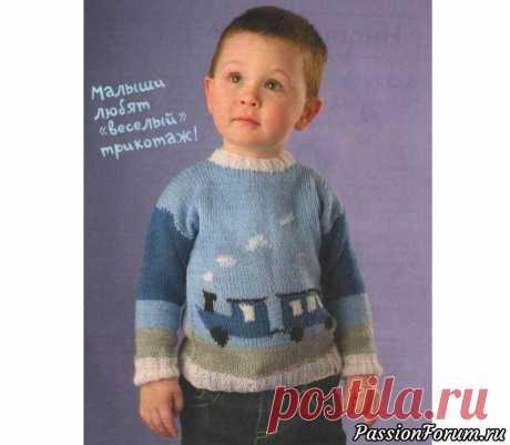 Пуловер с паровозиком. Схема и описание | Вязание спицами для детей На 1 годВам потребуется:пряжа Baby wool (40% шерсть, 40% акрил, 20% бамбук, 175м/50 г) - по 50 г белого, голубого, синего и серого цветов, остатки черного цвета, спицы №3 крючок №2,5, 2 пуговицы.Резинка 2x2:вяжите попеременно 2 лиц. п. и 2 изн. п.Платочная вязка:лиц. и изн. ряды - только...