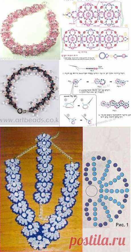Колье или браслеты трех видов / Браслеты, Колье, бусы, ожерелья / Biserok.org