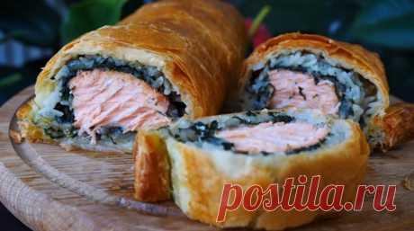 Пирог с красной рыбой: хрустящий сверху и сочный внутри Пирог с красной рыбой получается потрясающим: нереально вкусный, ароматный! Царский пирог для самых дорогих гостей! Нарезаем на порционные кусочки и угощаем! Первый кусочек, конечно, хозяйке!