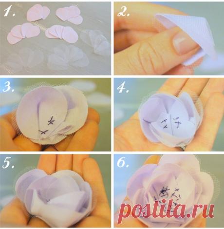 Как сделать тканевые цветы,тканевые цветы своими руками,цветы из ткани своими руками