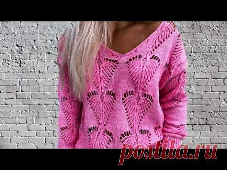Шикарные Листья, который еще не вязали! Модный пуловер спицами Феерия. Новинка 2021/ МК Узор