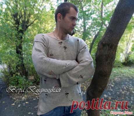 Эффектный пуловер с дырками и швами наружу для экстравагантных мужчин. - Вязание - Страна Мам