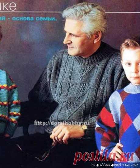 Красивый мужской свитер крючком с рельефными жгутами — HandMade