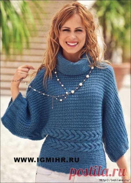 Пуловер-кимоно, связанный единым полотном (Вязание спицами) | Журнал Вдохновение Рукодельницы