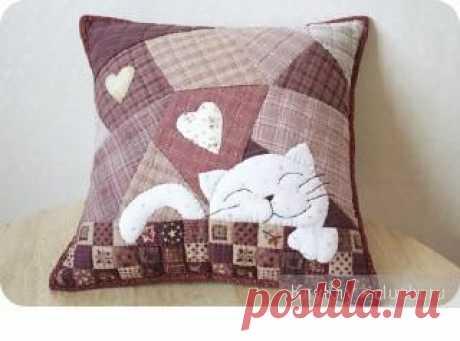 Декоративная подушка своими руками - кот