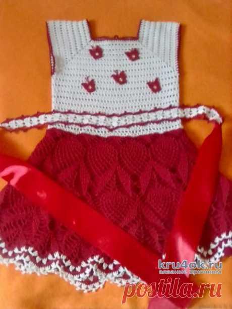 Платье для девочки Малинка, связано крючком. Работа Оксаны