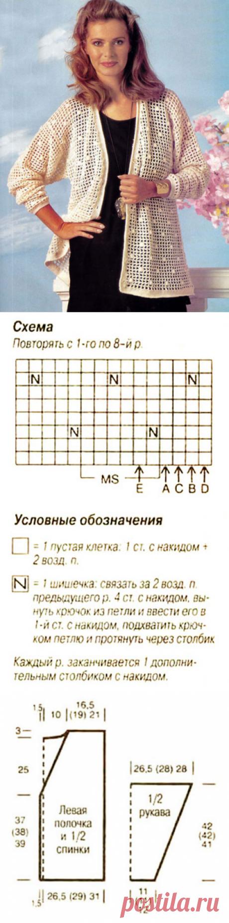 Жакет филейным узором с шишечками с пуговицами крючком – схема с описанием вязания